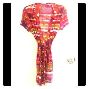 Calvin Klein Multi Colored Wrap Dress Size 8